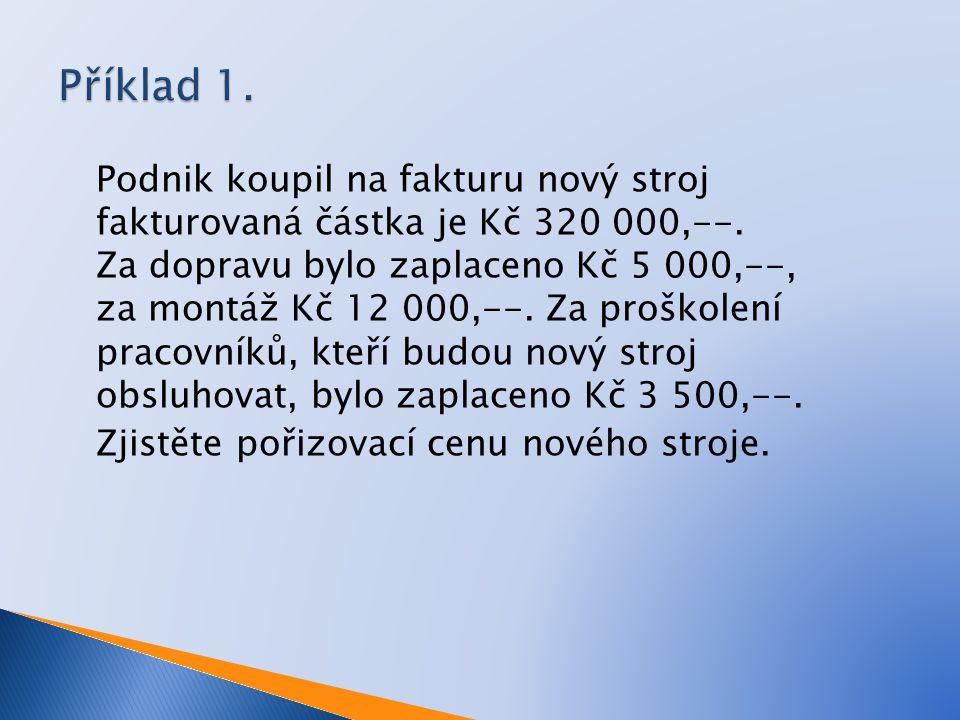 Podnik koupil na fakturu nový stroj fakturovaná částka je Kč 320 000,--.