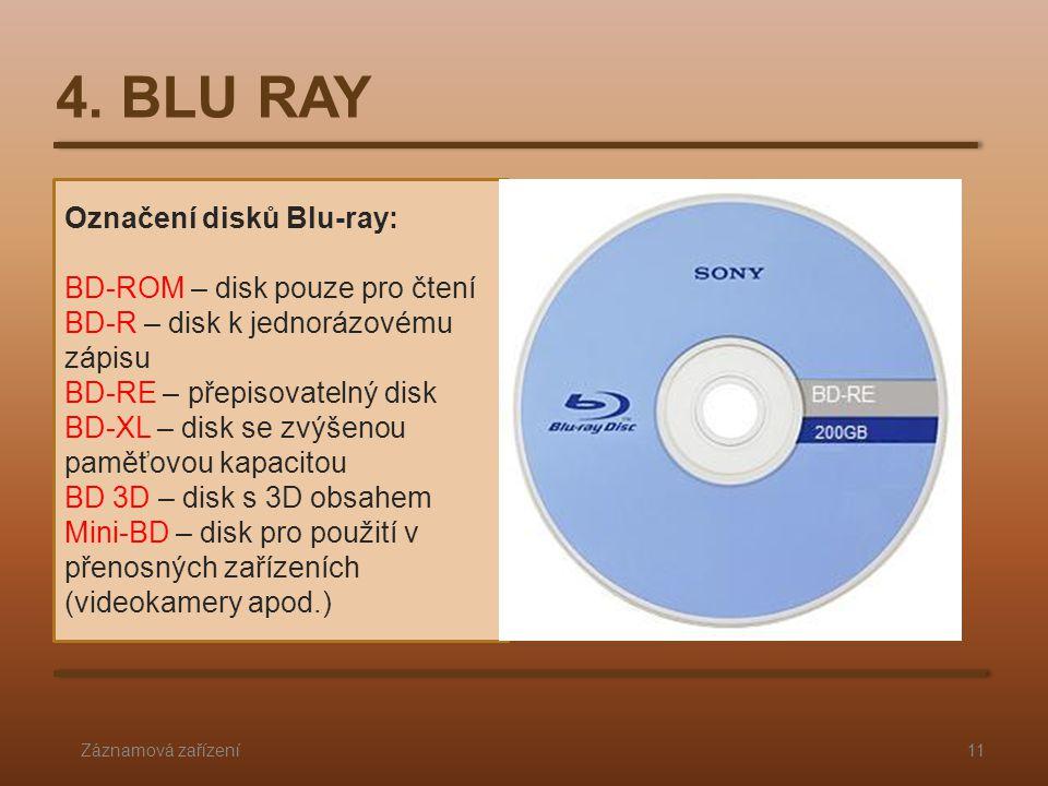 Označení disků Blu-ray: BD-ROM – disk pouze pro čtení BD-R – disk k jednorázovému zápisu BD-RE – přepisovatelný disk BD-XL – disk se zvýšenou paměťovou kapacitou BD 3D – disk s 3D obsahem Mini-BD – disk pro použití v přenosných zařízeních (videokamery apod.) 4.