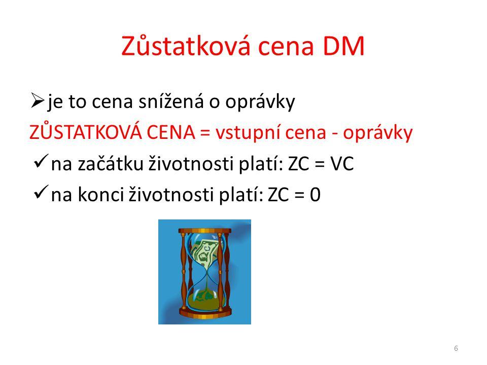 Zůstatková cena DM  je to cena snížená o oprávky ZŮSTATKOVÁ CENA = vstupní cena - oprávky na začátku životnosti platí: ZC = VC na konci životnosti platí: ZC = 0 6