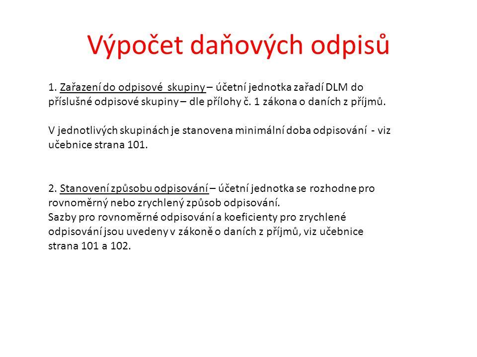 Výpočet daňových odpisů 1. Zařazení do odpisové skupiny – účetní jednotka zařadí DLM do příslušné odpisové skupiny – dle přílohy č. 1 zákona o daních