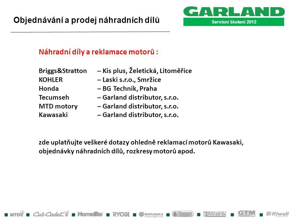 Servisní školení 2012 Náhradní díly a reklamace motorů : Briggs&Stratton – Kis plus, Želetická, Litoměřice KOHLER – Laski s.r.o., Smržice Honda – BG T