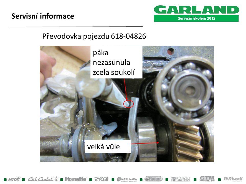 Servisní školení 2012 Servisní informace páka nezasunula zcela soukolí velká vůle Převodovka pojezdu 618-04826