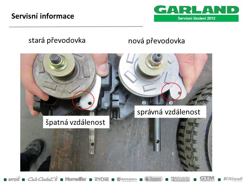 Servisní školení 2012 Servisní informace stará převodovka nová převodovka špatná vzdálenost správná vzdálenost