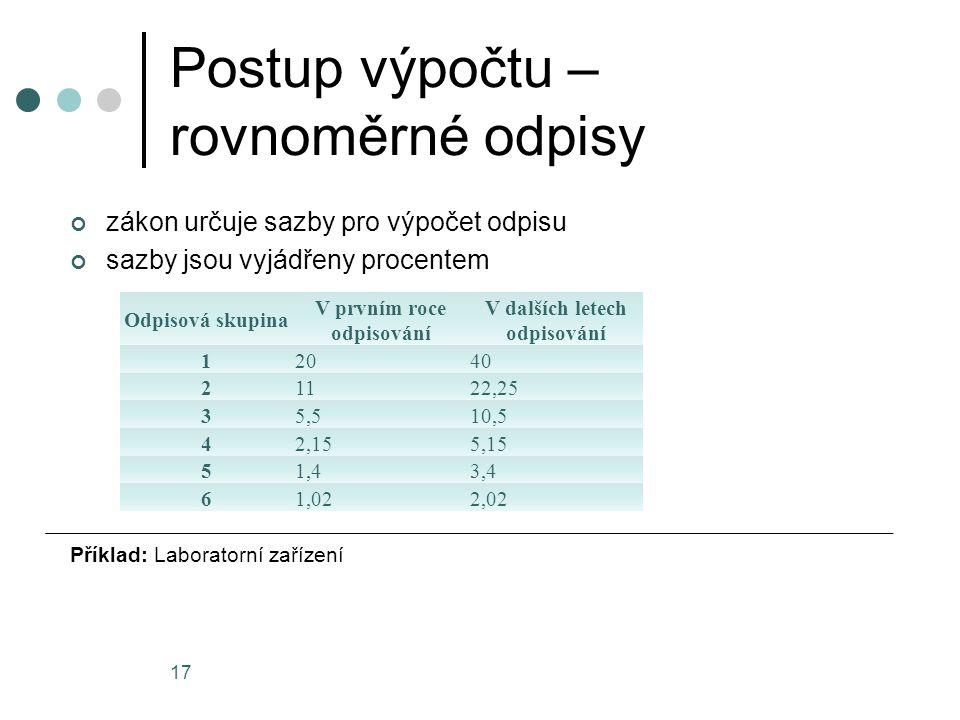 Postup výpočtu – rovnoměrné odpisy zákon určuje sazby pro výpočet odpisu sazby jsou vyjádřeny procentem Příklad: Laboratorní zařízení 17 Odpisová skup