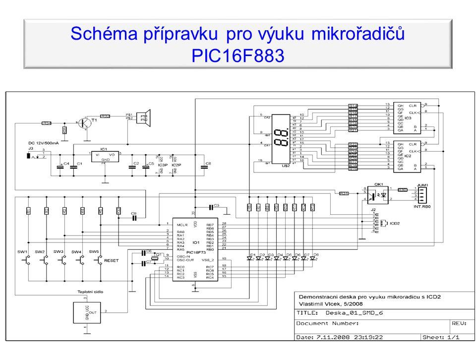 Schéma přípravku pro výuku mikrořadičů PIC16F883