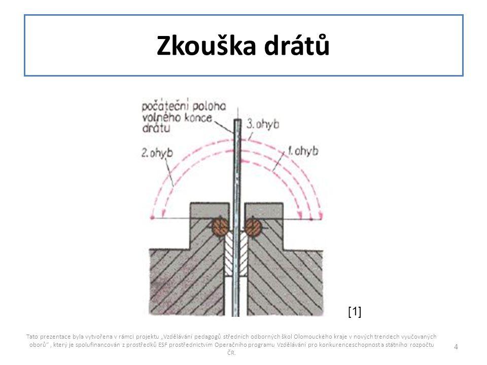 """Zkouška drátů Tato prezentace byla vytvořena v rámci projektu """"Vzdělávání pedagogů středních odborných škol Olomouckého kraje v nových trendech vyučov"""