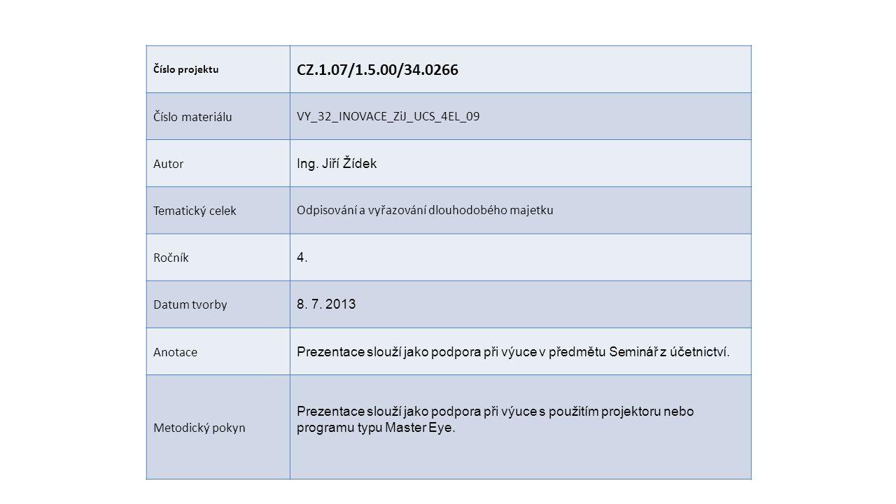 Číslo projektu CZ.1.07/1.5.00/34.0266 Číslo materiáluVY_32_INOVACE_ZiJ_UCS_4EL_09 Autor Ing.
