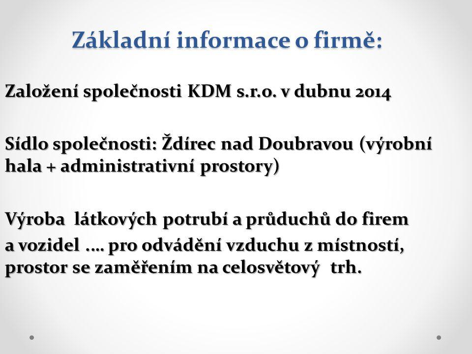 Základní informace o firmě: Založení společnosti KDM s.r.o. v dubnu 2014 Sídlo společnosti: Ždírec nad Doubravou (výrobní hala + administrativní prost