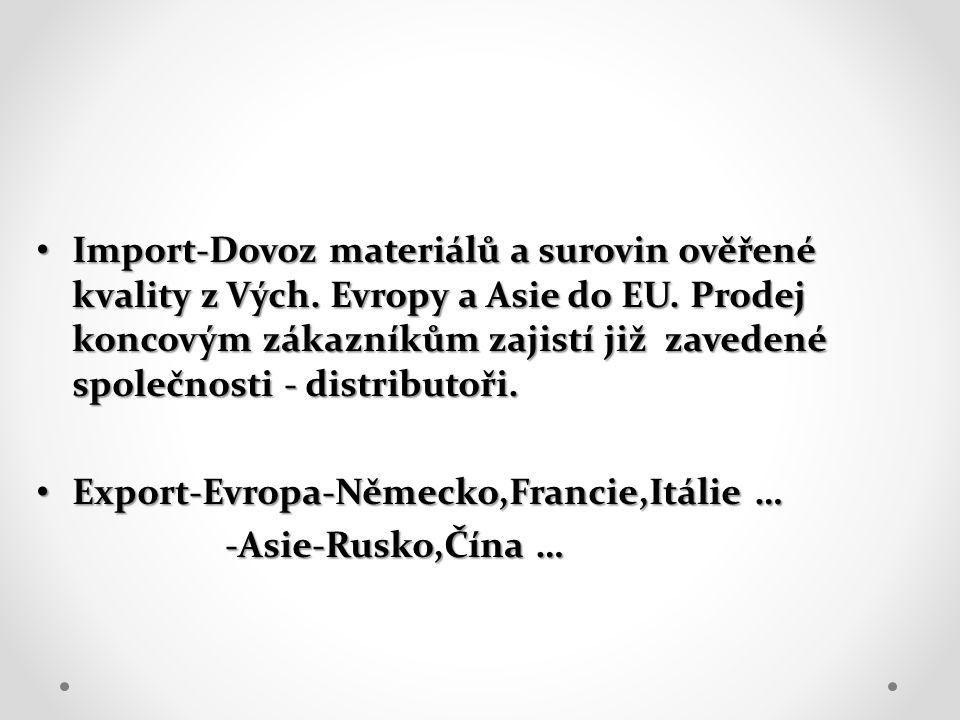 Import-Dovoz materiálů a surovin ověřené kvality z Vých. Evropy a Asie do EU. Prodej koncovým zákazníkům zajistí již zavedené společnosti - distributo