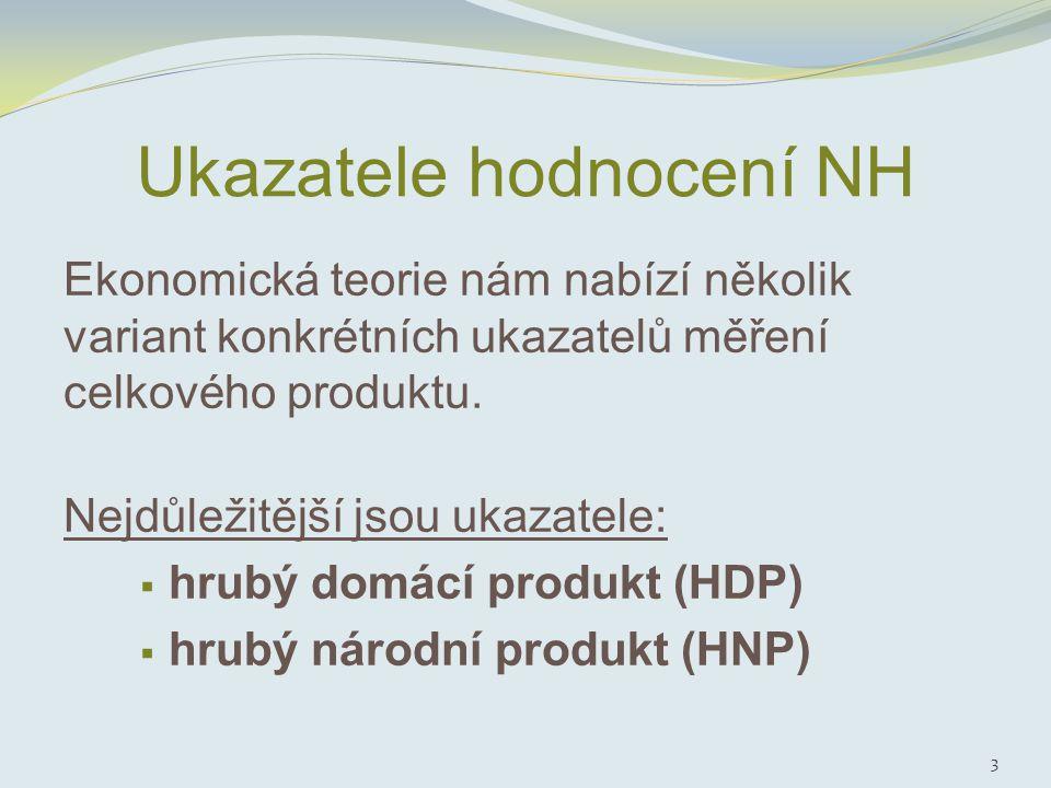 Ukazatele hodnocení NH Ekonomická teorie nám nabízí několik variant konkrétních ukazatelů měření celkového produktu.