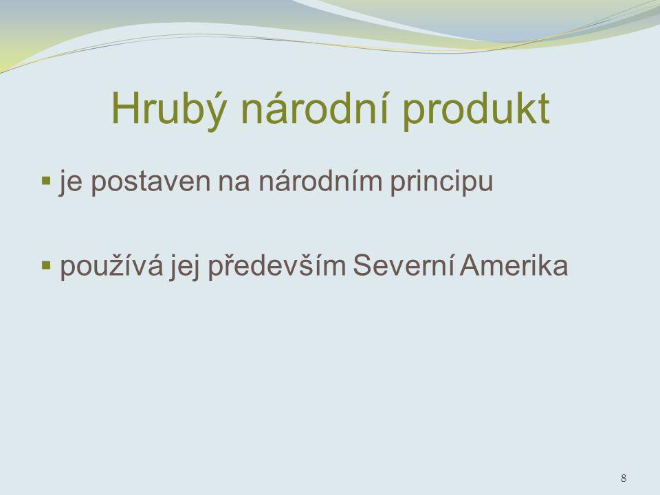 Hrubý národní produkt  je postaven na národním principu  používá jej především Severní Amerika 8