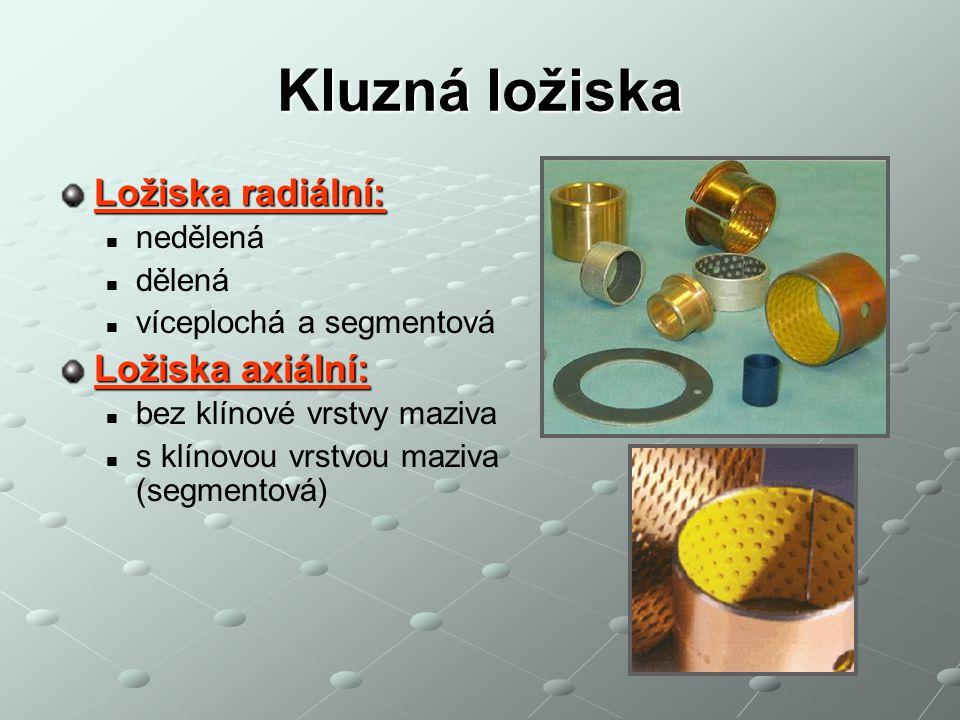 Kluzná ložiska Kluzná otočná jsou uložení, u nichž vrstva maziva (tzv.