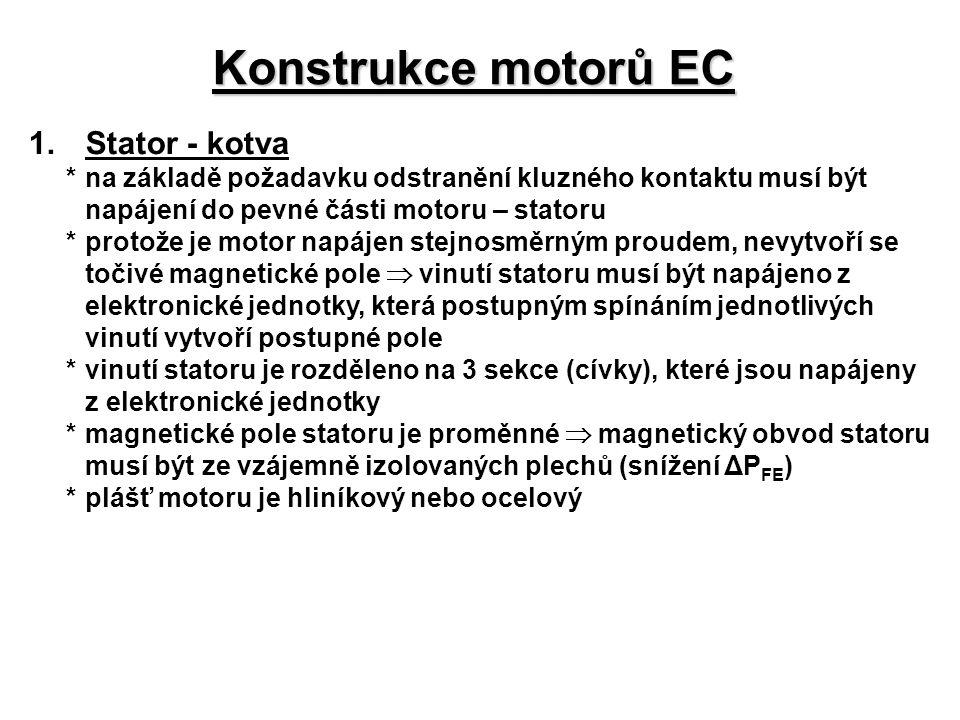 Konstrukce motorů EC 1.Stator - kotva *na základě požadavku odstranění kluzného kontaktu musí být napájení do pevné části motoru – statoru *protože je