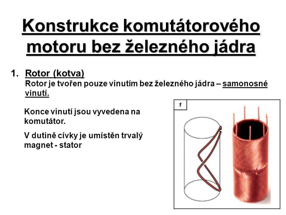 Konstrukce komutátorového motoru bez železného jádra 1.Rotor (kotva) Rotor je tvořen pouze vinutím bez železného jádra – samonosné vinutí. Konce vinut