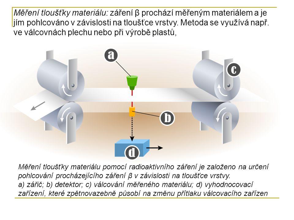 Radiační polymerace: ozářením dojde k polymeraci materiálů, sloužících k výrobě sportovní výstroje, obuvi, čalounění apod., Stopovací metody: vhodný radioizotop se přimísí např.