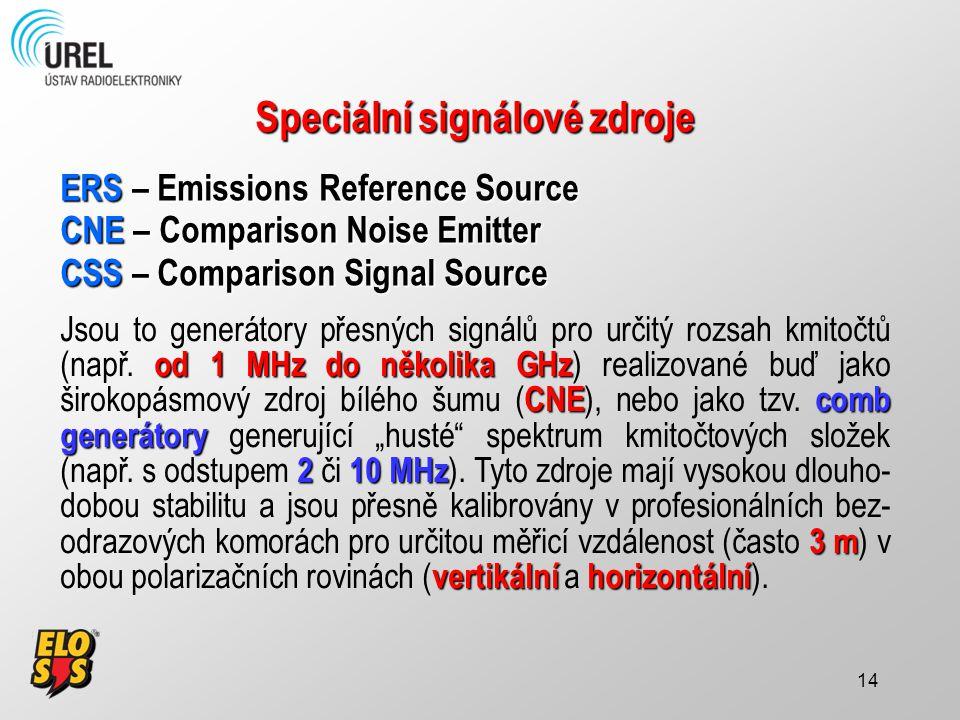 14 Speciální signálové zdroje ERS – Emissions Reference Source CNE – Comparison Noise Emitter CSS – Comparison Signal Source od 1 MHz do několika GHz