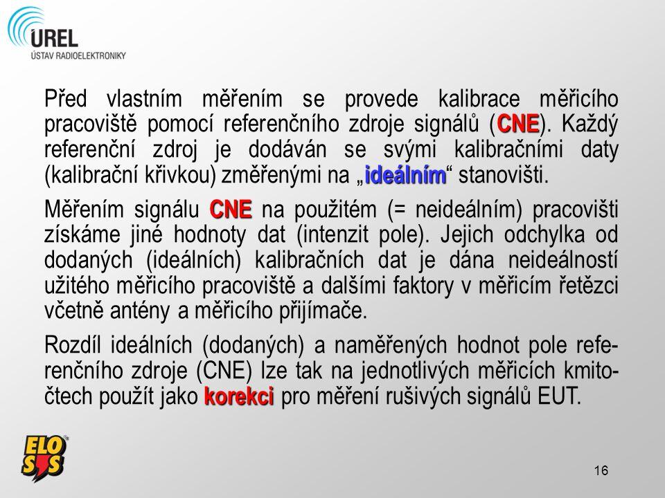 16 CNE ideálním Před vlastním měřením se provede kalibrace měřicího pracoviště pomocí referenčního zdroje signálů ( CNE ). Každý referenční zdroj je d