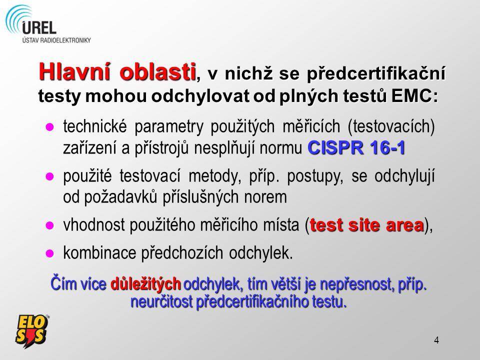 4 Hlavní oblasti, v nichž se předcertifikační testy mohou odchylovat od plných testů EMC: ●t CISPR 16-1 ●technické parametry použitých měřicích (testo