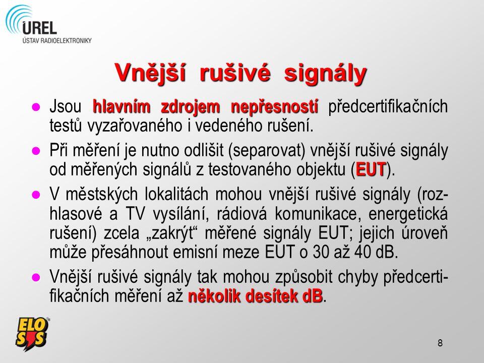 9 Čtyři metody respektování Čtyři metody (postupy) respektování vnějších rušivých signálů: 1.Odladění vnějších rušivých signálů 1.Odladění vnějších rušivých signálů (off-tuning the EMI receiver) 2.Substituce vnějších rušivých signálů 2.Substituce vnějších rušivých signálů (signal substitution) 3.Zkrácení měřicí vzdálenosti 4.Lineární subtrakce (odečítání) měřeného a rušivých signálů