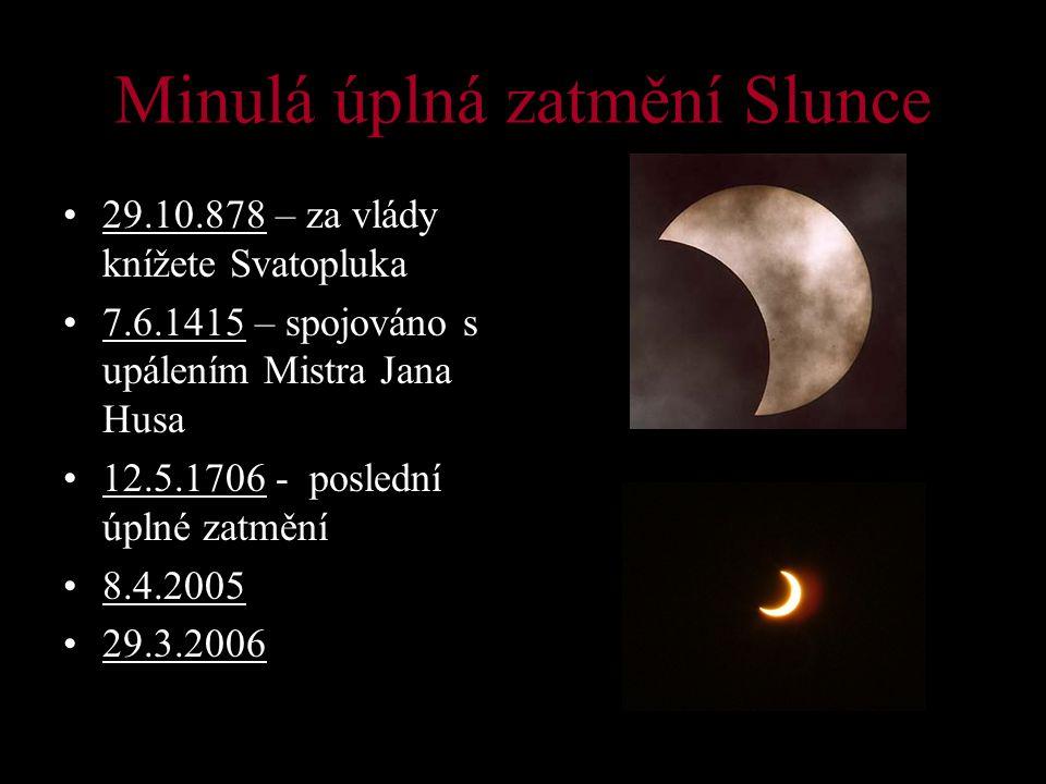 Minulá úplná zatmění Slunce 29.10.878 – za vlády knížete Svatopluka 7.6.1415 – spojováno s upálením Mistra Jana Husa 12.5.1706 - poslední úplné zatmění 8.4.2005 29.3.2006
