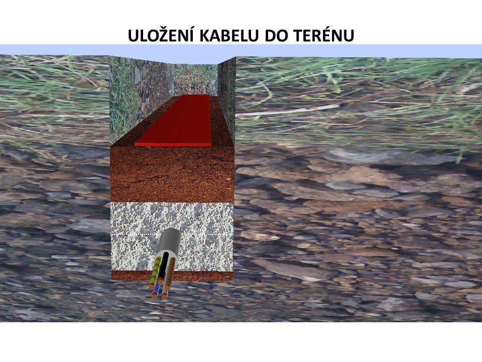 20-30 cm výkopový materiál d výstražná fólie Výkopový materiál 8 cm písek hloubka uložení ULOŽENÍ KABELU DO TERÉNU