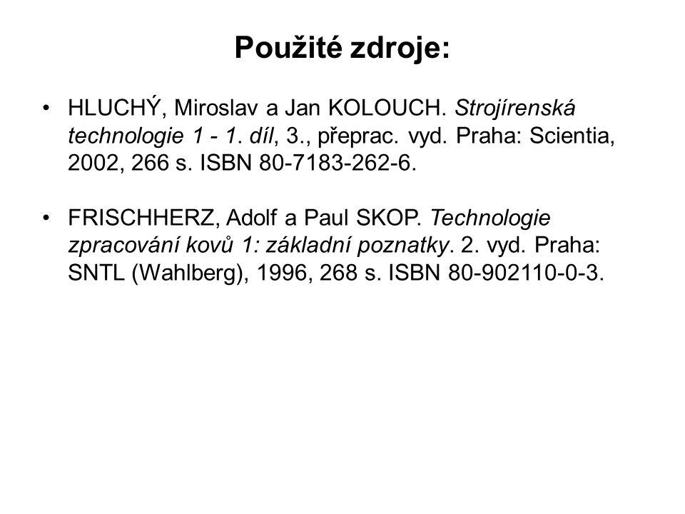 Použité zdroje: HLUCHÝ, Miroslav a Jan KOLOUCH. Strojírenská technologie 1 - 1. díl, 3., přeprac. vyd. Praha: Scientia, 2002, 266 s. ISBN 80-7183-262-
