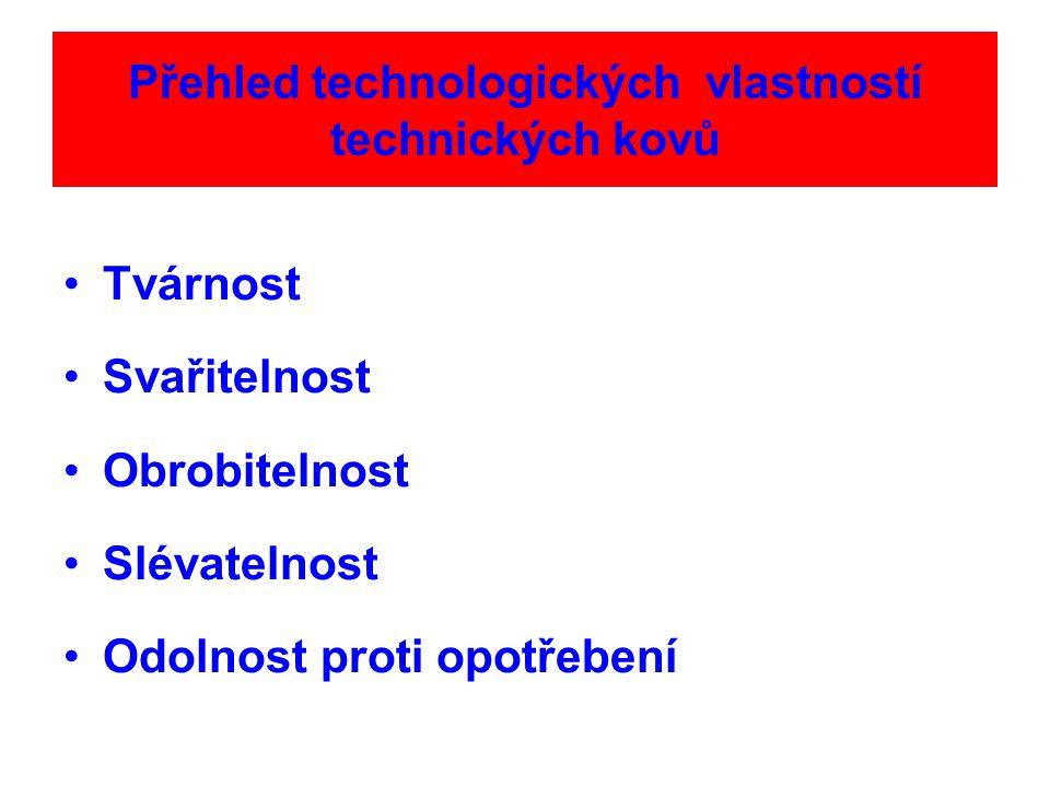 Přehled technologických vlastností technických kovů Tvárnost Svařitelnost Obrobitelnost Slévatelnost Odolnost proti opotřebení