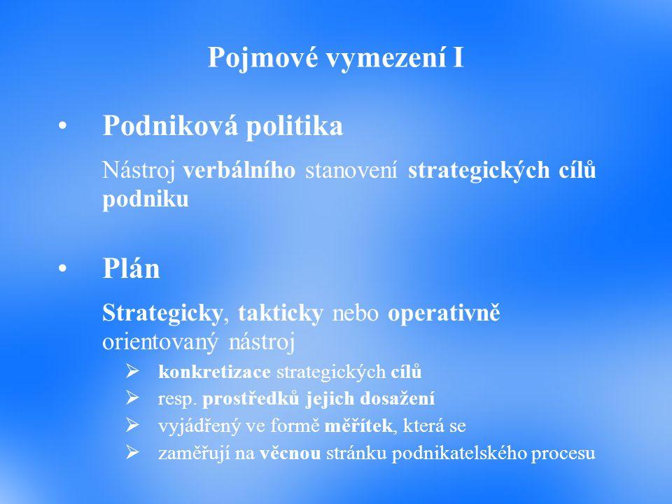 Pojmové vymezení I Podniková politika Nástroj verbálního stanovení strategických cílů podniku Plán Strategicky, takticky nebo operativně orientovaný n