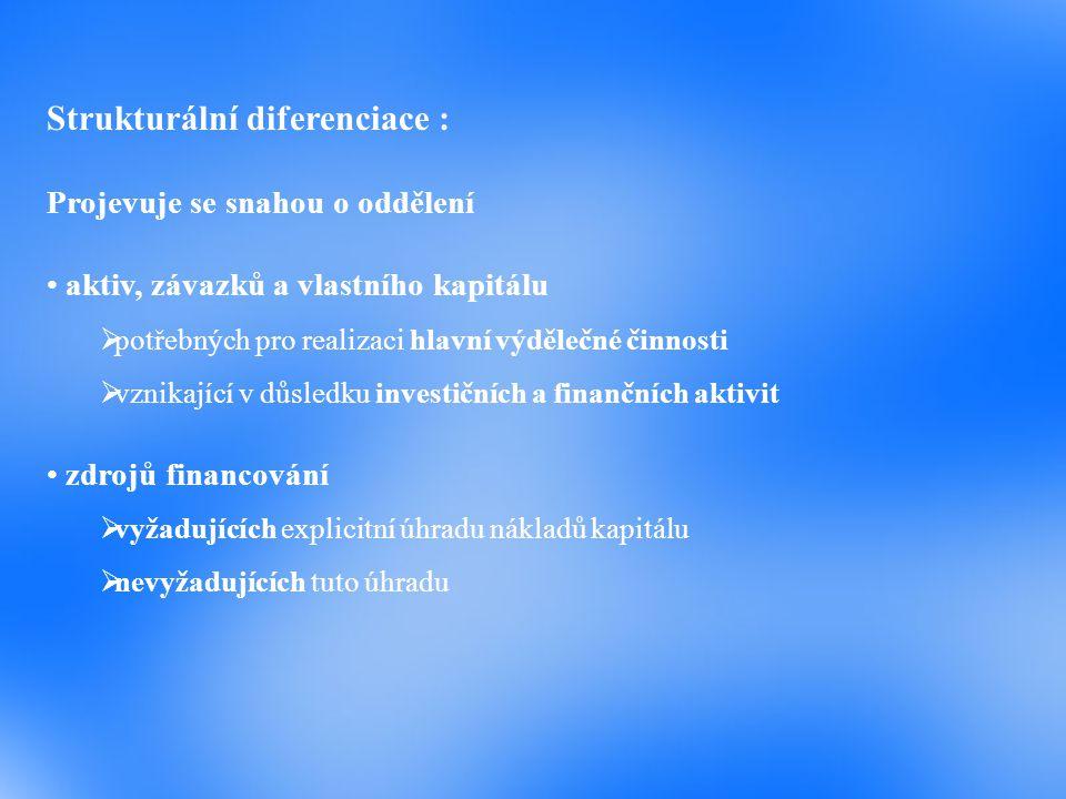 Strukturální diferenciace : Projevuje se snahou o oddělení aktiv, závazků a vlastního kapitálu  potřebných pro realizaci hlavní výdělečné činnosti 