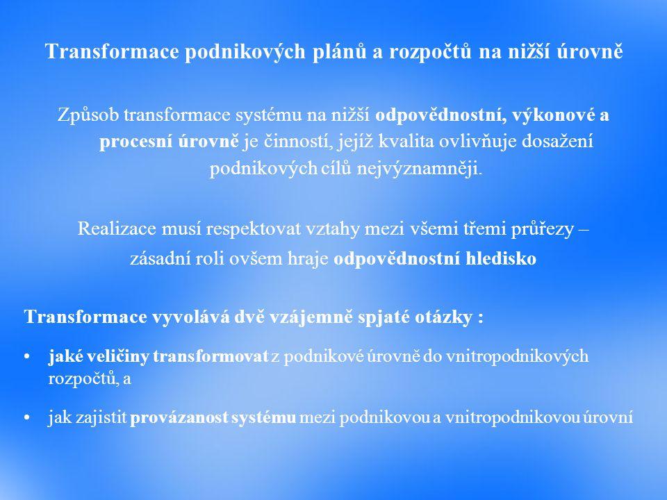Transformace podnikových plánů a rozpočtů na nižší úrovně Způsob transformace systému na nižší odpovědnostní, výkonové a procesní úrovně je činností,