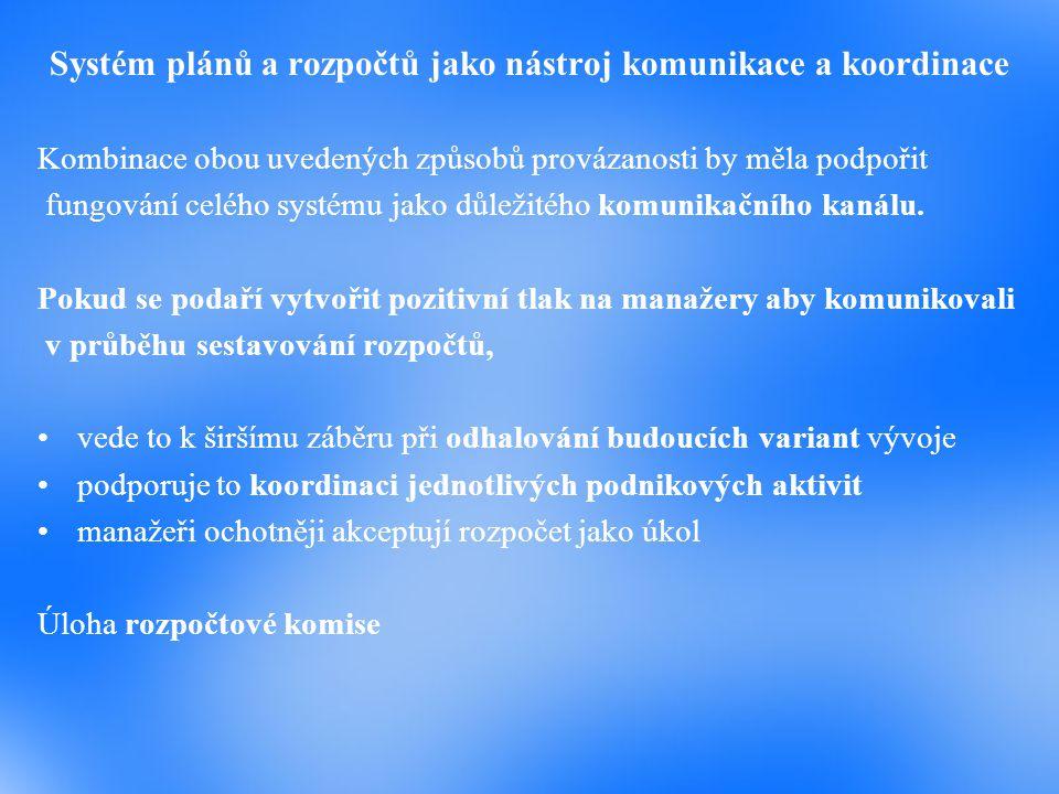 Systém plánů a rozpočtů jako nástroj komunikace a koordinace Kombinace obou uvedených způsobů provázanosti by měla podpořit fungování celého systému j