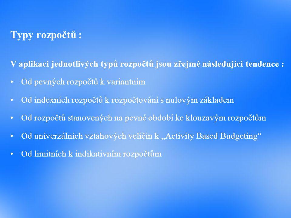 Typy rozpočtů : V aplikaci jednotlivých typů rozpočtů jsou zřejmé následující tendence : Od pevných rozpočtů k variantním Od indexních rozpočtů k rozp