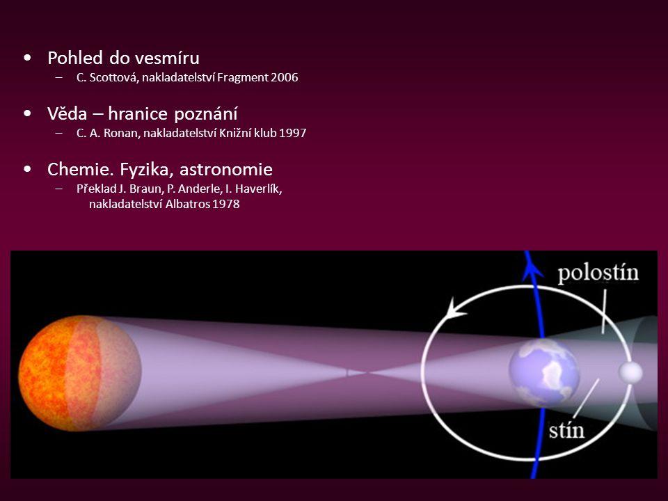 Pohled do vesmíru –C. Scottová, nakladatelství Fragment 2006 Věda – hranice poznání –C. A. Ronan, nakladatelství Knižní klub 1997 Chemie. Fyzika, astr