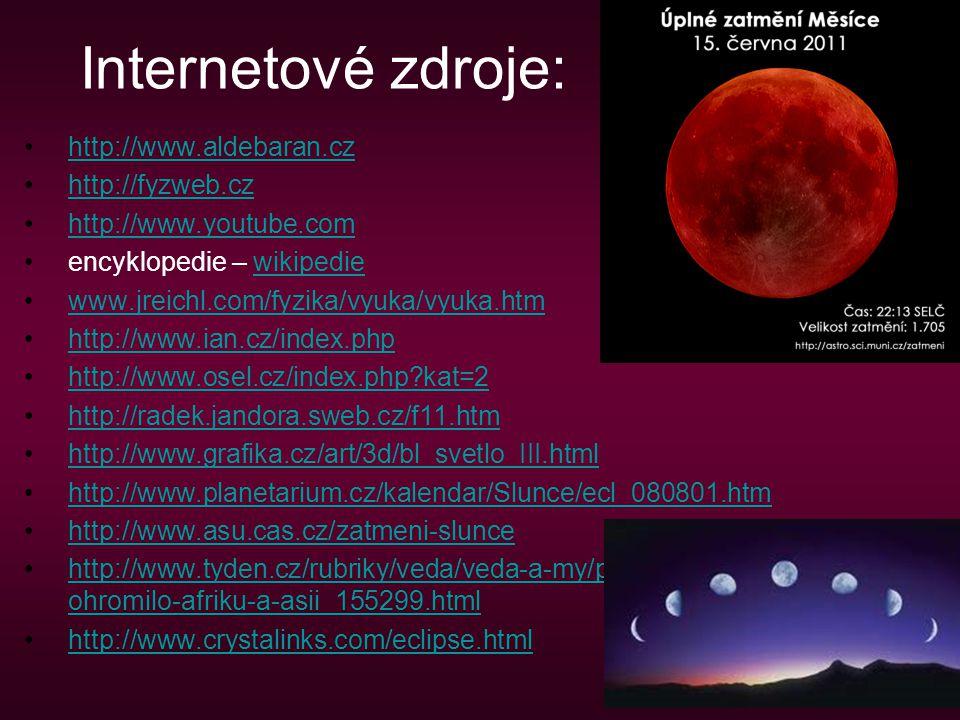 Internetové zdroje: http://www.aldebaran.cz http://fyzweb.cz http://www.youtube.com encyklopedie – wikipediewikipedie www.jreichl.com/fyzika/vyuka/vyu