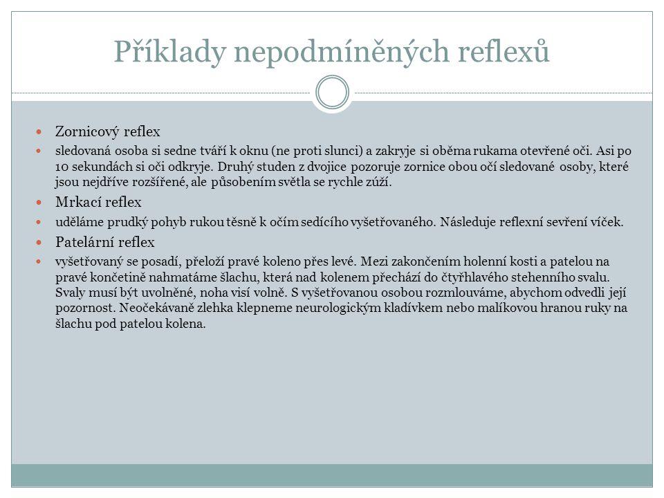 Příklady nepodmíněných reflexů Zornicový reflex sledovaná osoba si sedne tváří k oknu (ne proti slunci) a zakryje si oběma rukama otevřené oči. Asi po