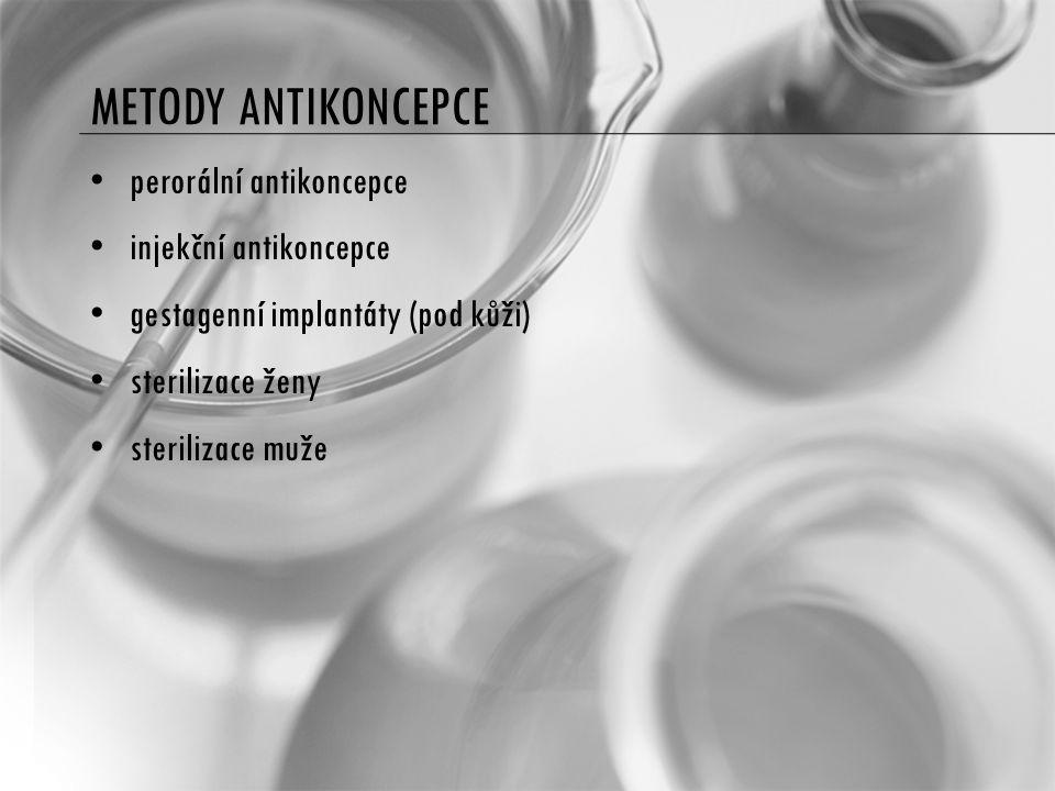 METODY ANTIKONCEPCE perorální antikoncepce injekční antikoncepce gestagenní implantáty (pod kůži) sterilizace ženy sterilizace muže