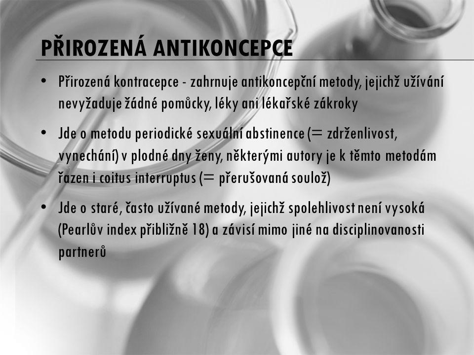 PŘIROZENÁ ANTIKONCEPCE Přirozená kontracepce - zahrnuje antikoncepční metody, jejichž užívání nevyžaduje žádné pomůcky, léky ani lékařské zákroky Jde