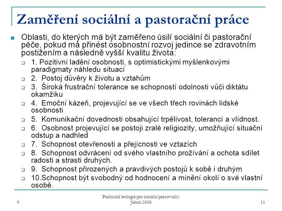 9 Praktická teologie pro sociální pracovníky.