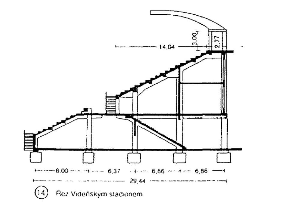 Místa k sezení Místa k sezení tvořena jednotlivými sedadly - nejmenší šířka stupně 700 mm Šířka bočních rozmezí - 450 mm Hloubka sedadla - 350 Šířka uličky - 350 Jsou-li místa k sezení tvořena stupni, je doporučená výška stupně 450 mm a šířka stupně 700 mm