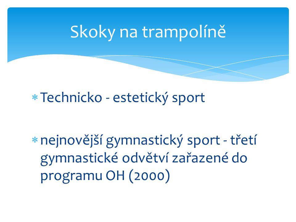  Technicko - estetický sport  nejnovější gymnastický sport - třetí gymnastické odvětví zařazené do programu OH (2000) Skoky na trampolíně