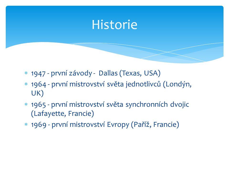  1947 - první závody - Dallas (Texas, USA)  1964 - první mistrovství světa jednotlivců (Londýn, UK)  1965 - první mistrovství světa synchronních dv