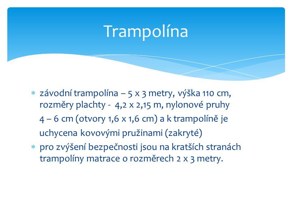  závodní trampolína – 5 x 3 metry, výška 110 cm, rozměry plachty - 4,2 x 2,15 m, nylonové pruhy 4 – 6 cm (otvory 1,6 x 1,6 cm) a k trampolíně je uchy