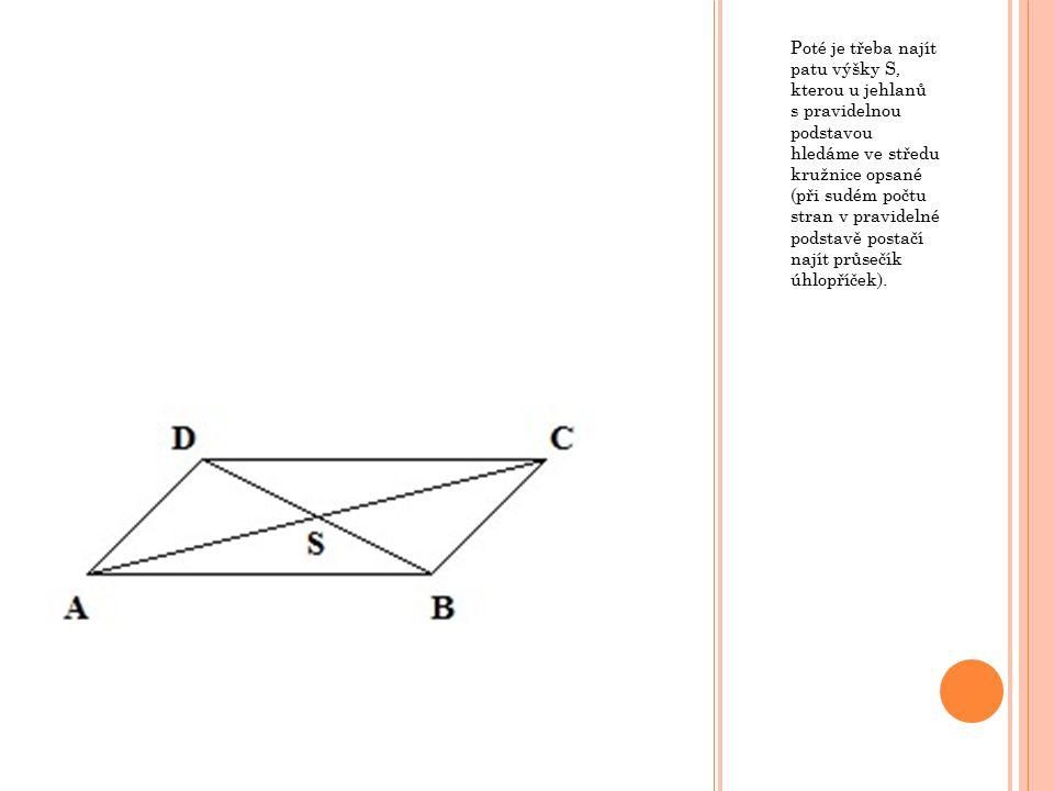 Poté je třeba najít patu výšky S, kterou u jehlanů s pravidelnou podstavou hledáme ve středu kružnice opsané (při sudém počtu stran v pravidelné podst