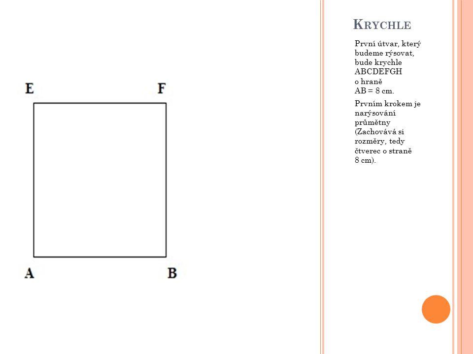 K RYCHLE První útvar, který budeme rýsovat, bude krychle ABCDEFGH o hraně AB = 8 cm. Prvním krokem je narýsování průmětny (Zachovává si rozměry, tedy