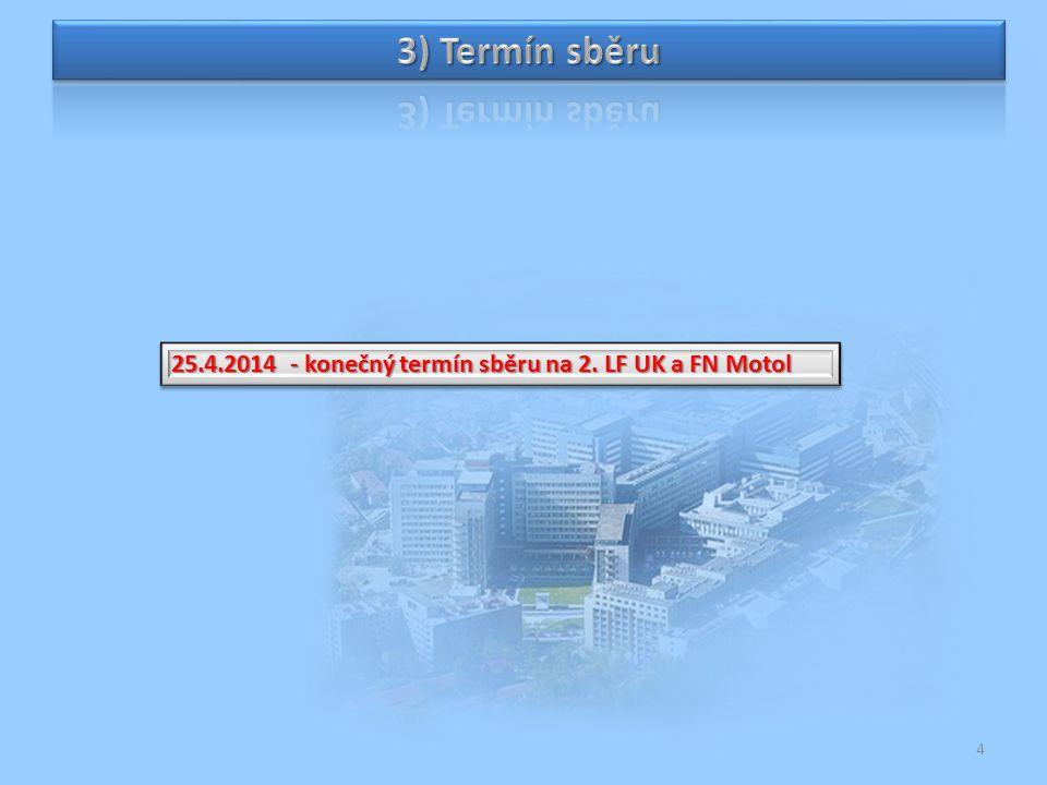 25.4.2014 - konečný termín sběru na 2. LF UK a FN Motol 4