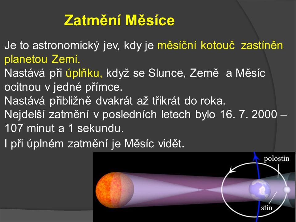 Zatmění Měsíce Je to astronomický jev, kdy je měsíční kotouč zastíněn planetou Zemí.