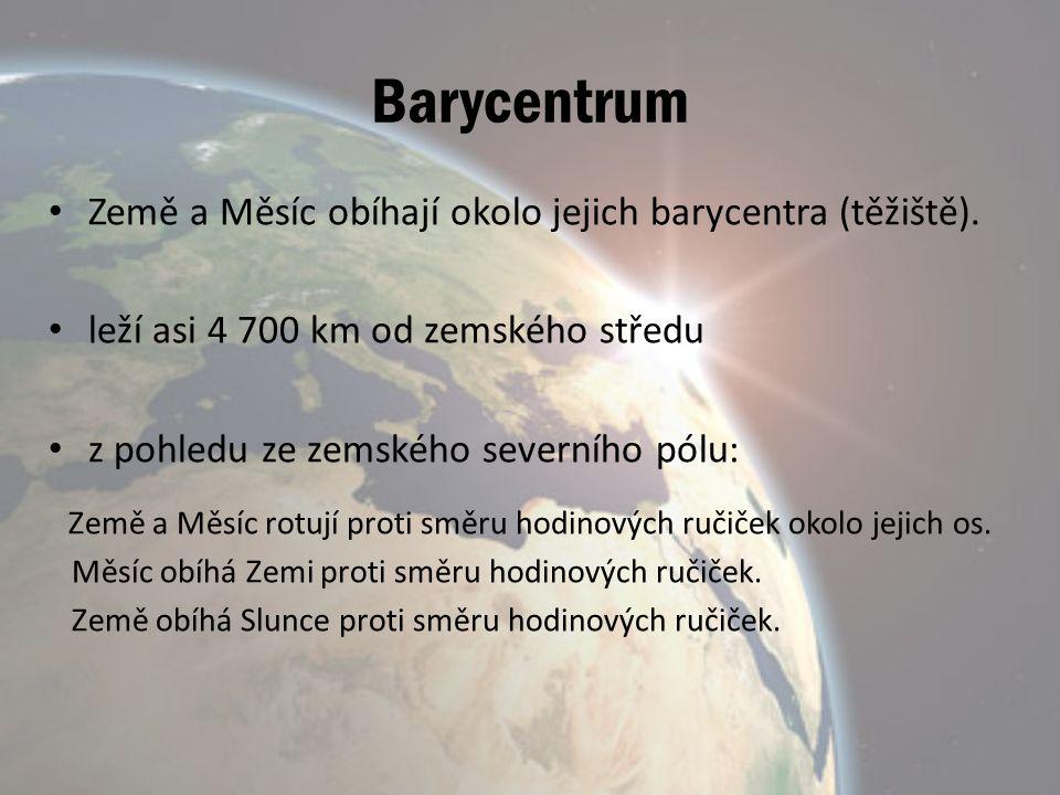 Barycentrum Země a Měsíc obíhají okolo jejich barycentra (těžiště). leží asi 4 700 km od zemského středu z pohledu ze zemského severního pólu: Země a
