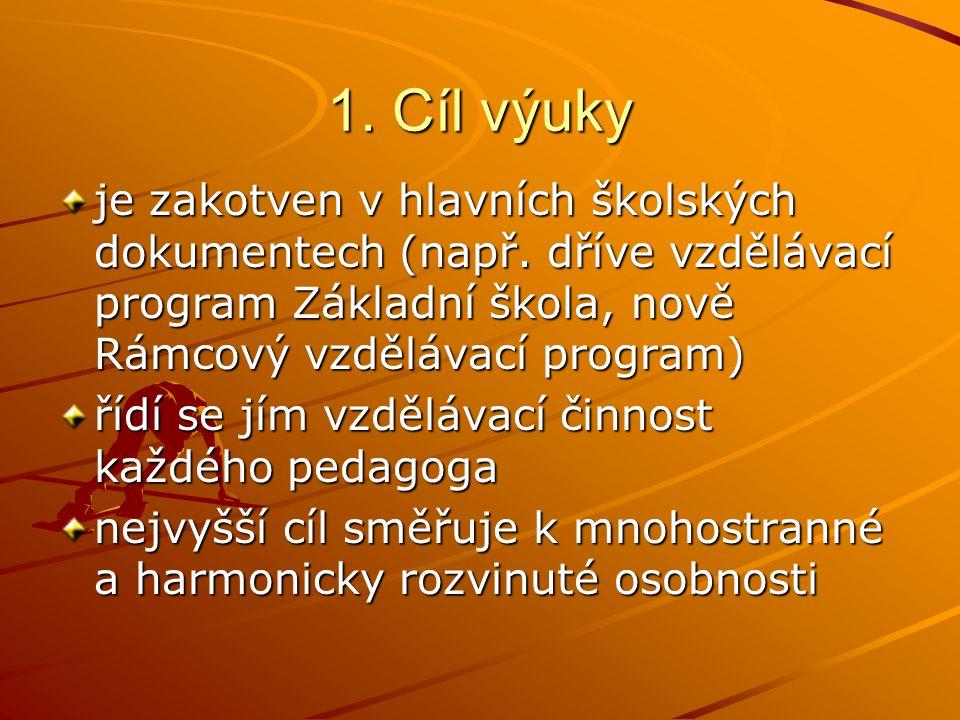 1. Cíl výuky je zakotven v hlavních školských dokumentech (např. dříve vzdělávací program Základní škola, nově Rámcový vzdělávací program) řídí se jím
