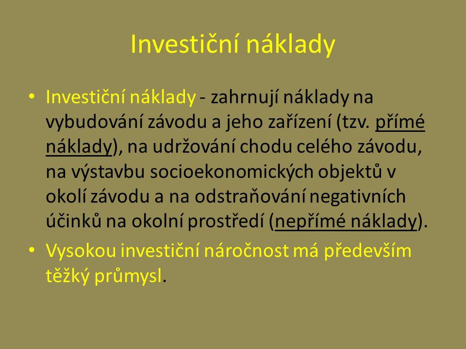 Investiční náklady Investiční náklady - zahrnují náklady na vybudování závodu a jeho zařízení (tzv. přímé náklady), na udržování chodu celého závodu,