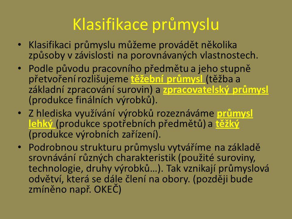 Klasifikace průmyslu - názorněji Podle původu pracovního předmětu a jeho stupně přetvoření rozlišujeme těžební průmyslzpracovatelský průmysl Z hlediska využívání výrobků rozeznáváme těžkýlehký